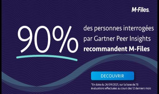90% des répondants du Gartner Peer Insights recommandent M-Files comme plateforme de gestion de contenu.